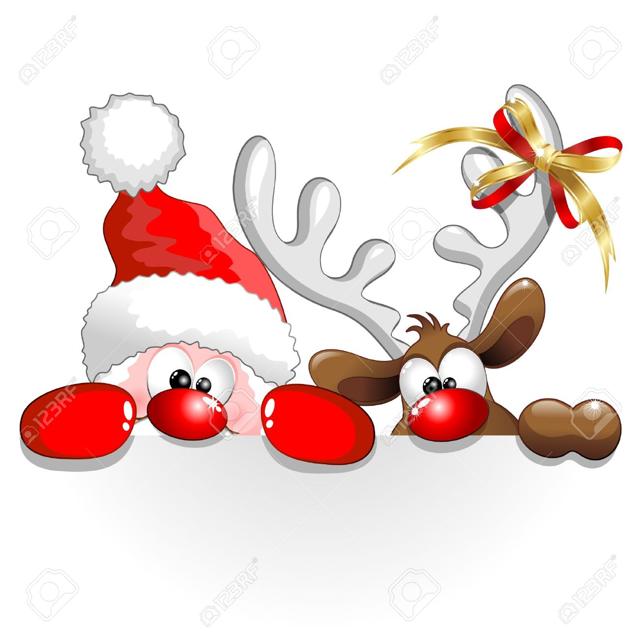 Funny Christmas Santa And Reindeer Cartoon Stock Vector   22281236