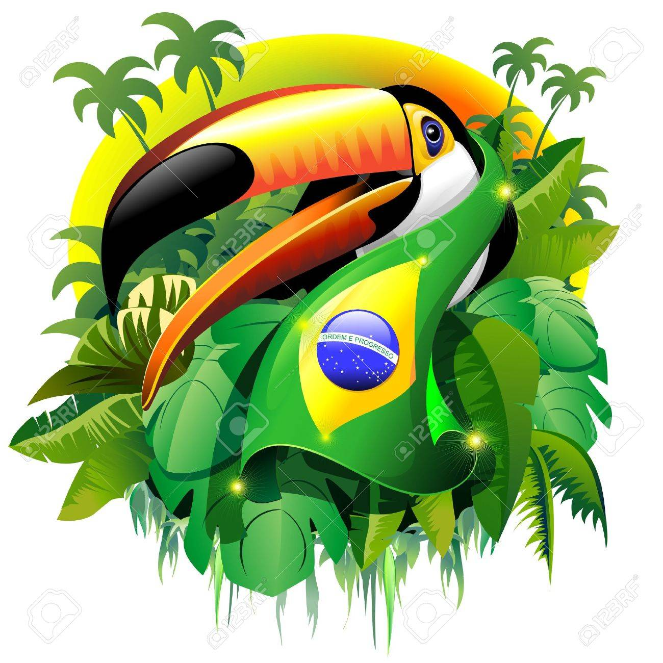Toco Toucan with Brazil Flag Stock Vector - 27902556