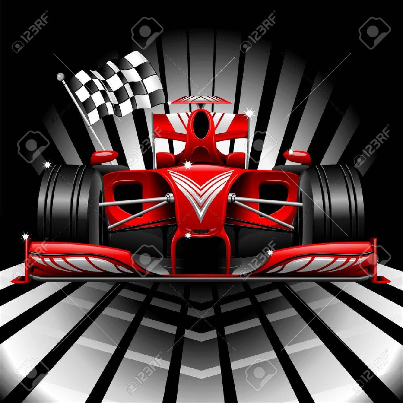 Formula 1 Red Race Car and Checkered Flag Stock Vector - 30218770
