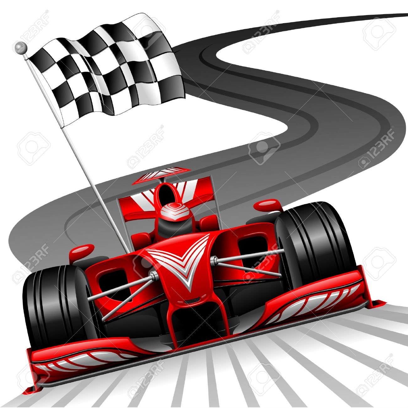Formula 1 Red Car on Race Track Stock Vector - 30218776