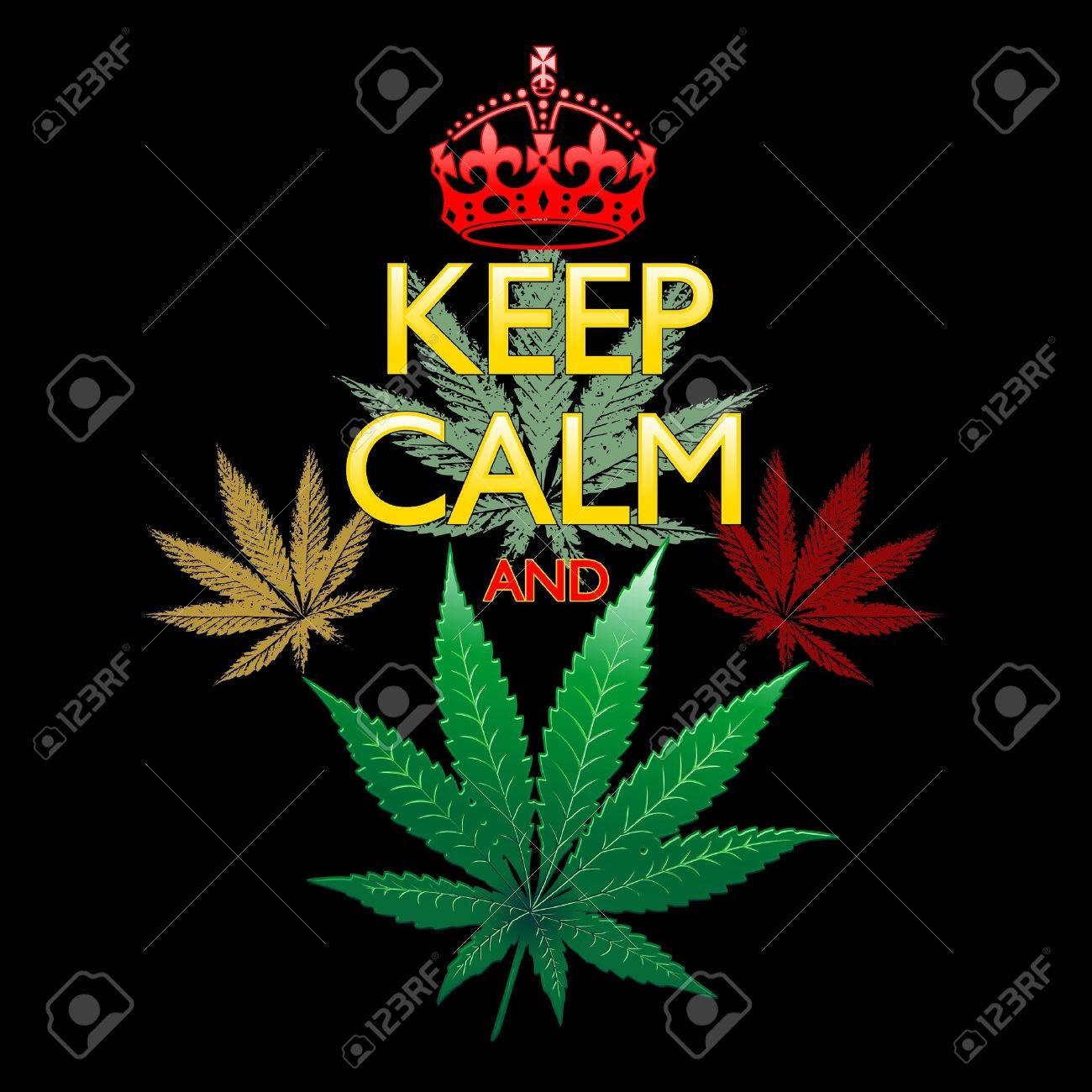 Keep Calm and Marijuana Leaf on Black Stock Vector - 30226037