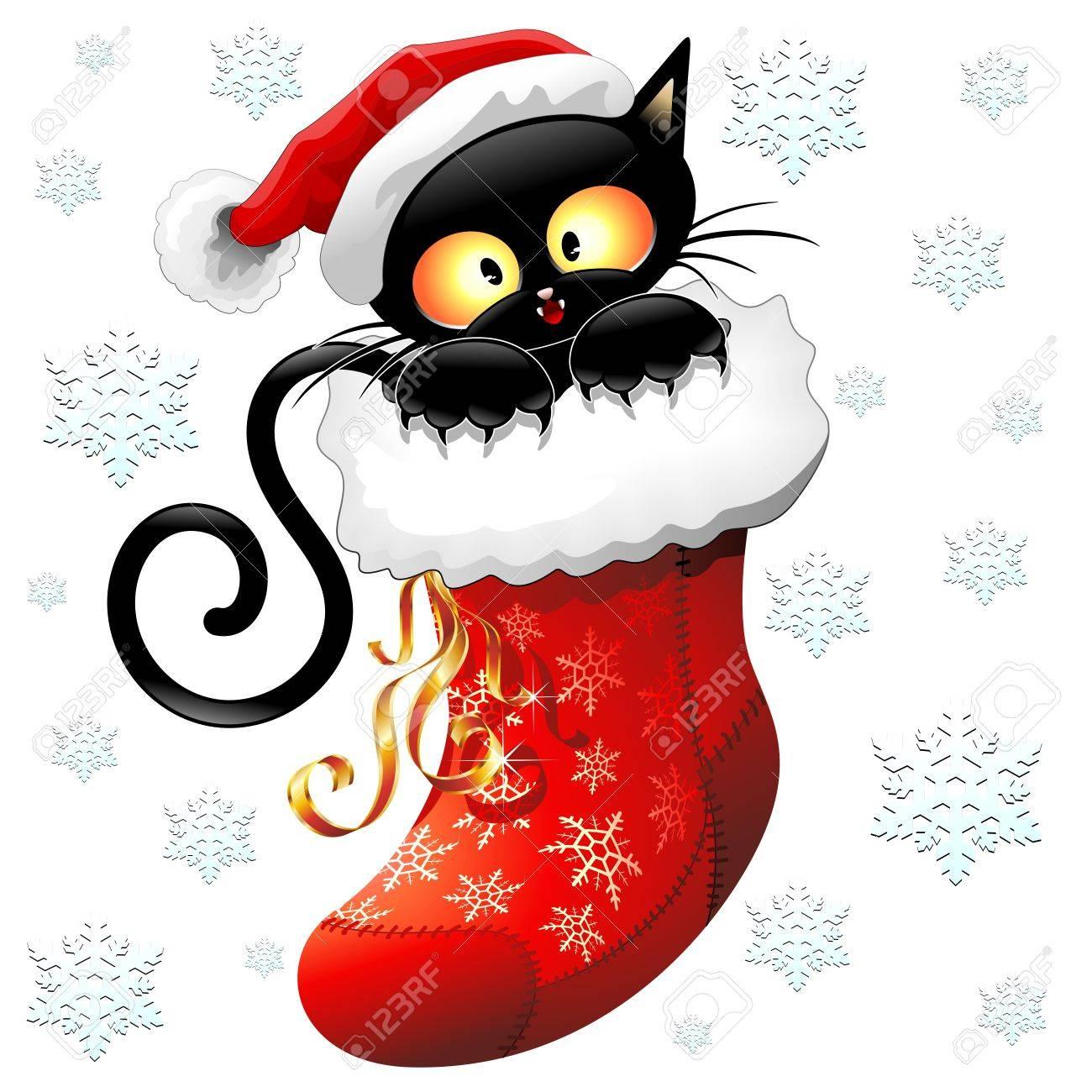 Cat Christmas Stockings.Cat Cartoon On Christmas Stocking