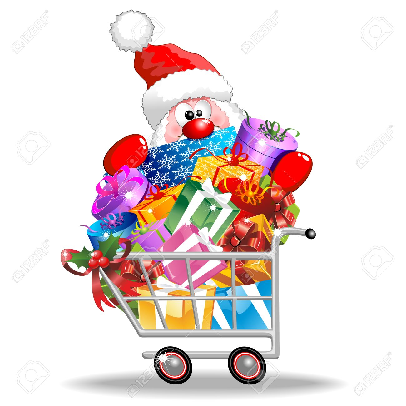 santa cartoon on shopping cart full of christmas gifts royalty