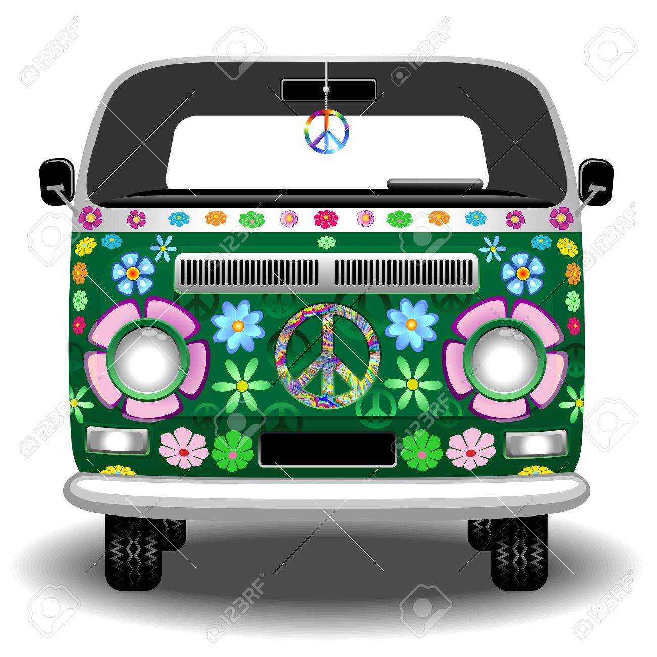 Hippie Groovy Van Peace and Love Stock Vector - 37161656