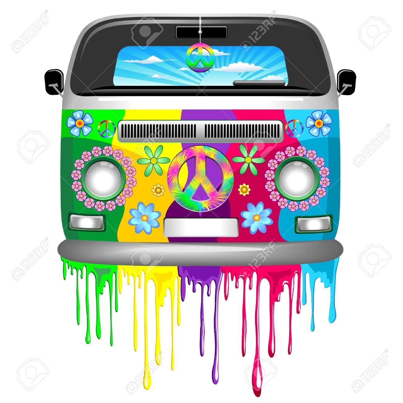 Hippie Van Dripping Rainbow Paint Stock Vector - 37320356