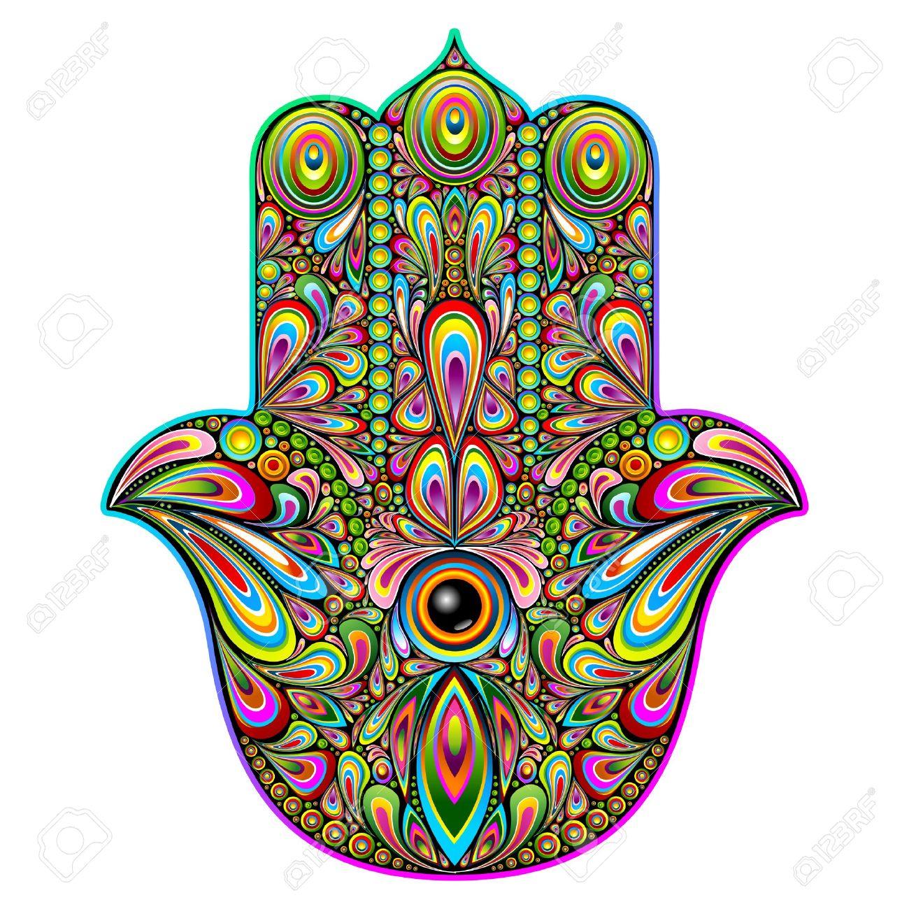 Hamsa Hand Psychedelic Art Stock Vector - 39559043