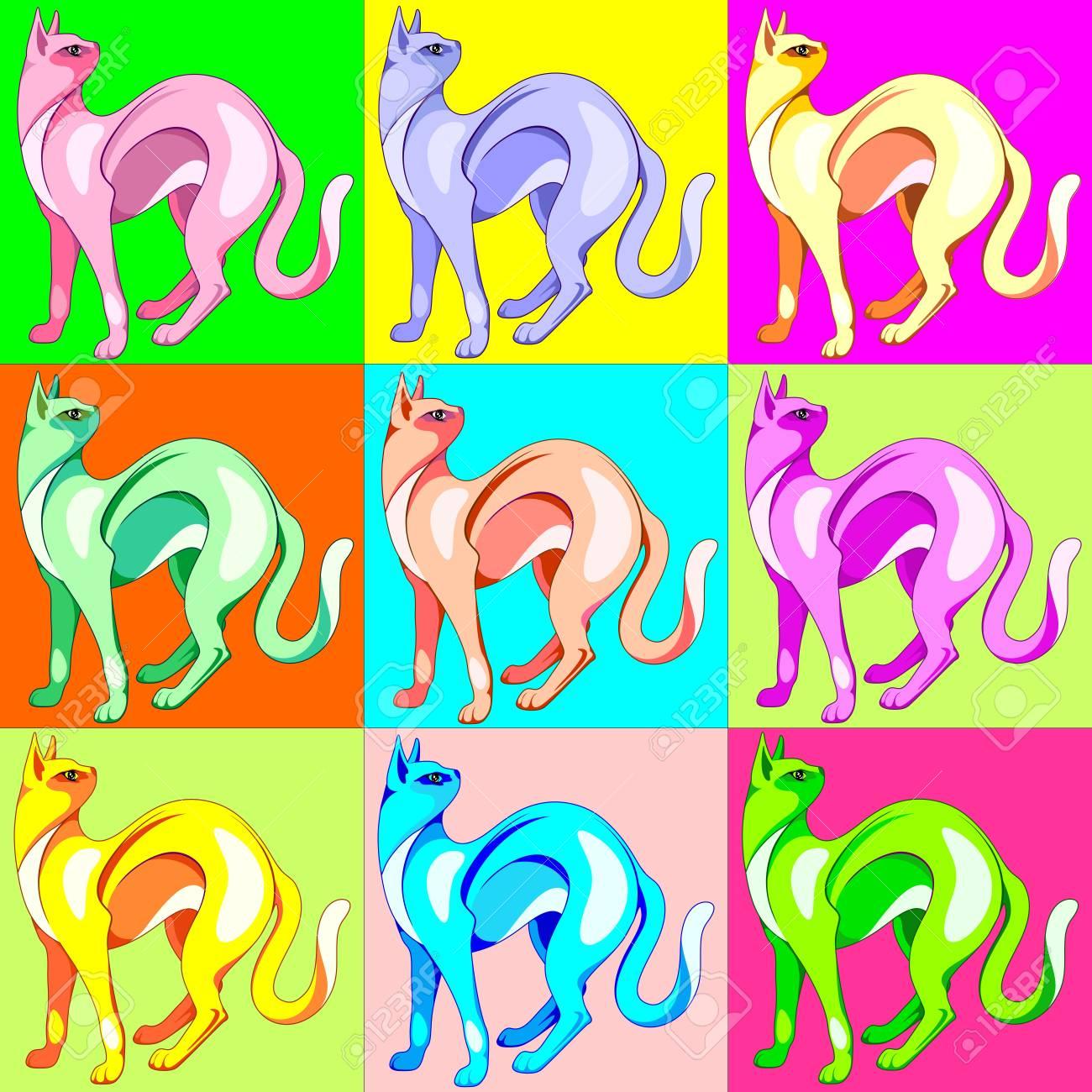 cat pop art rainbow colors royalty free cliparts vectors and stock
