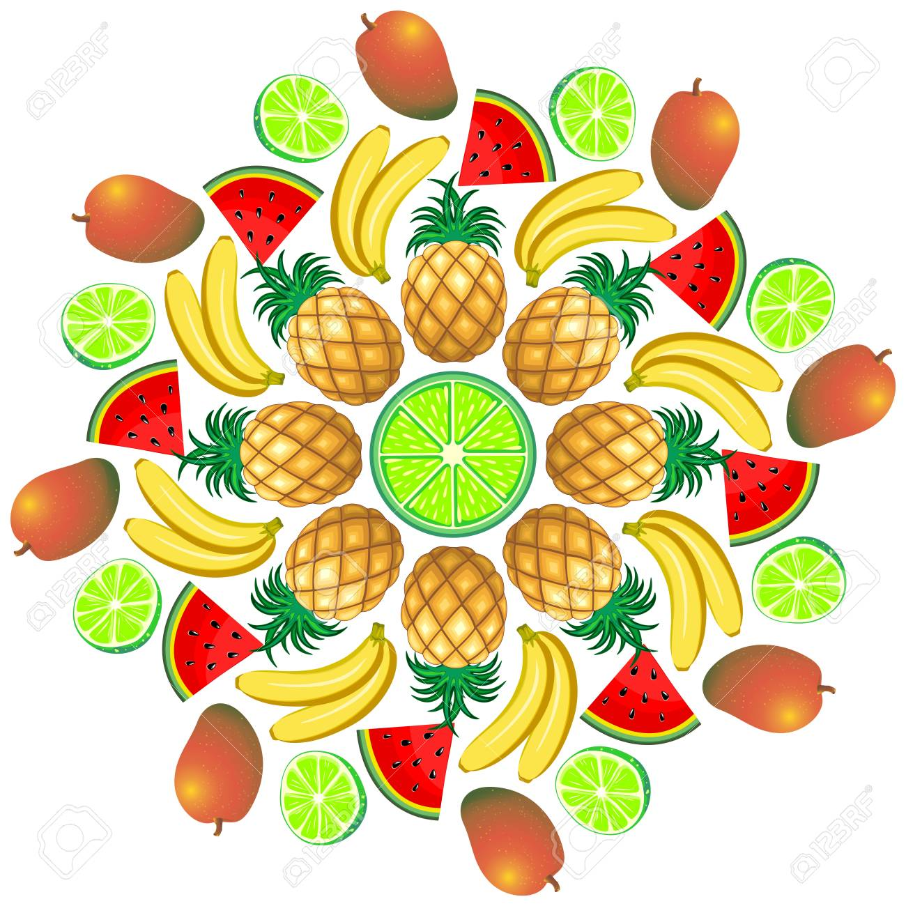 Mandala Summer Fruit And Juice 1 Stock Vector