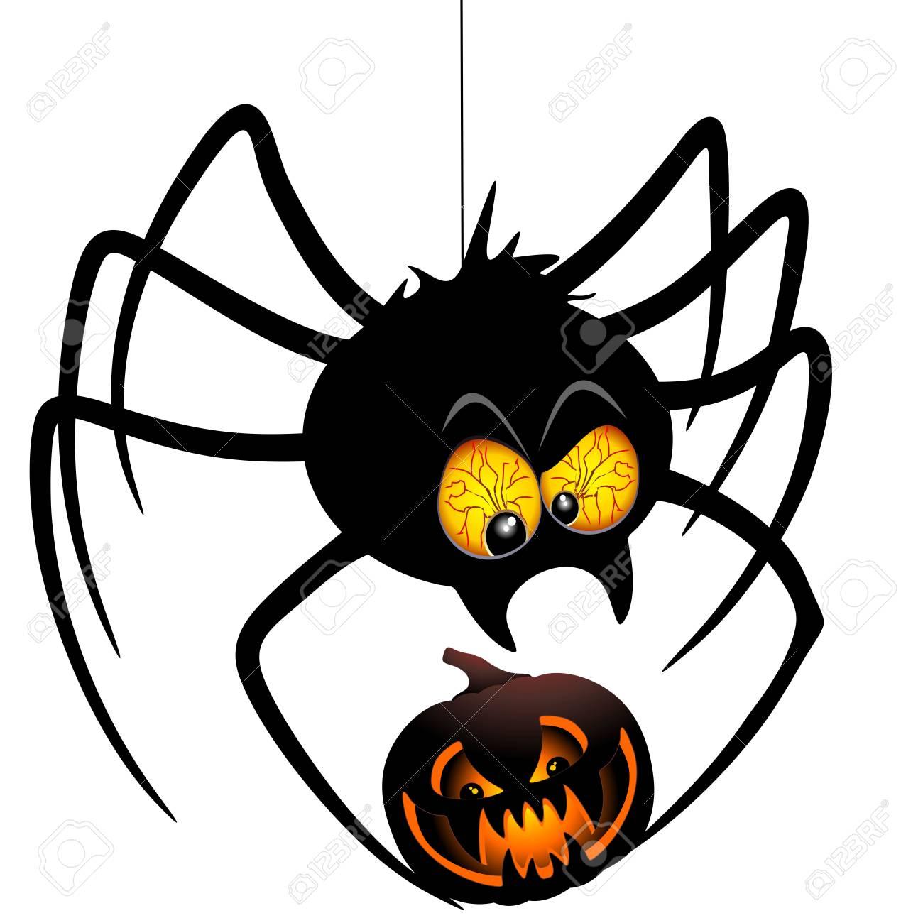 Image Araignée Halloween dessin de l'araignée de halloween tenant une citrouille clip art