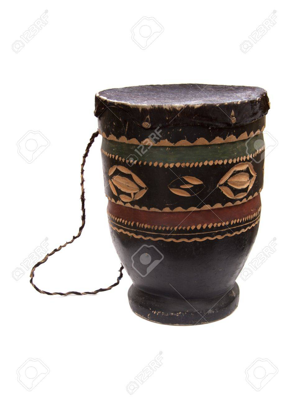 Handmade African drum on a white background. - 8319143