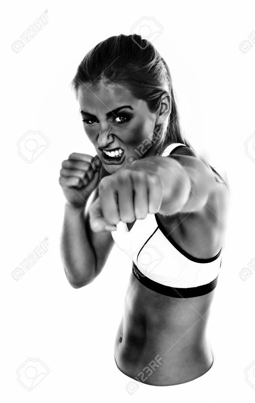 Black and white rendered image of an aggressive looking female fist fighter. - 11287264