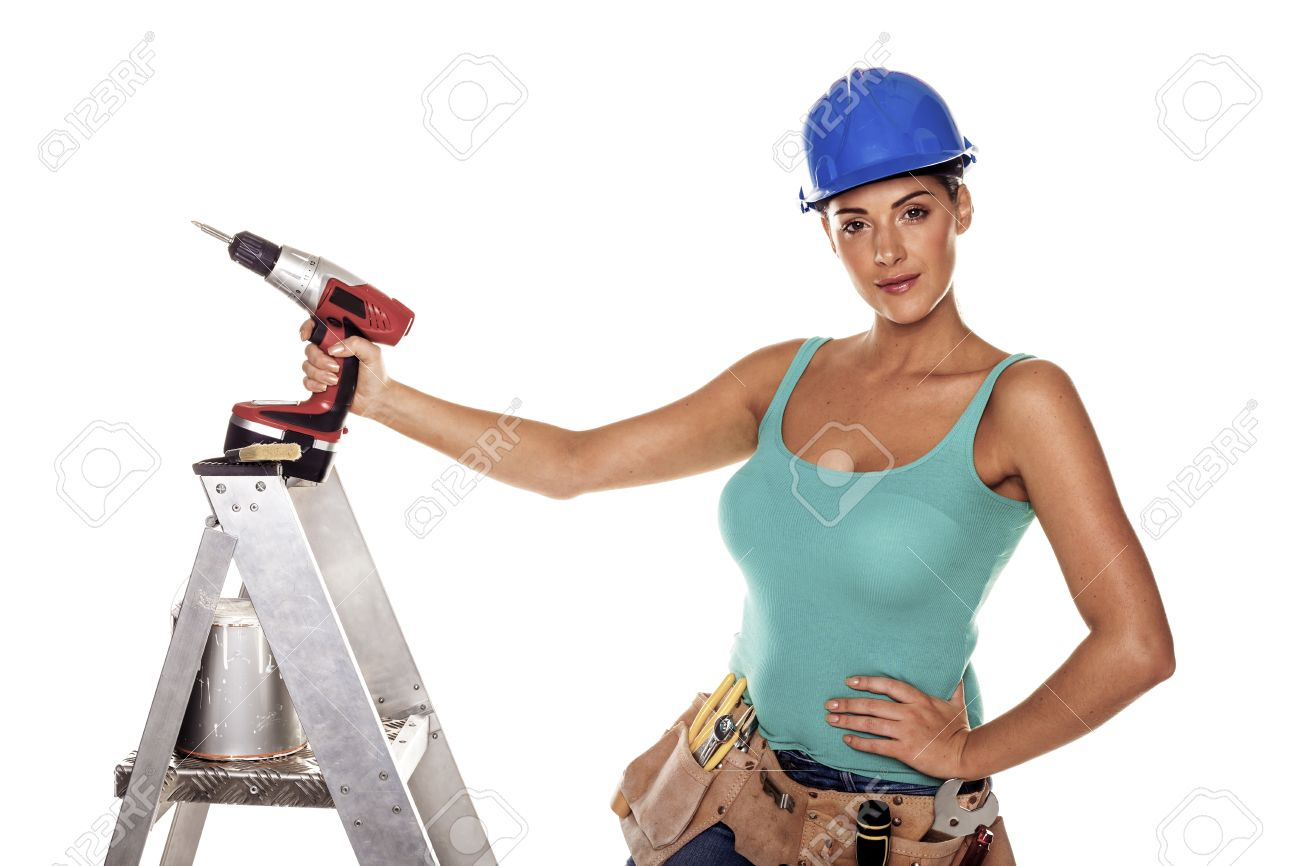 A woman wearing a DIY tool belt full of a variety of useful tools on a white background Stock Photo - 17890685
