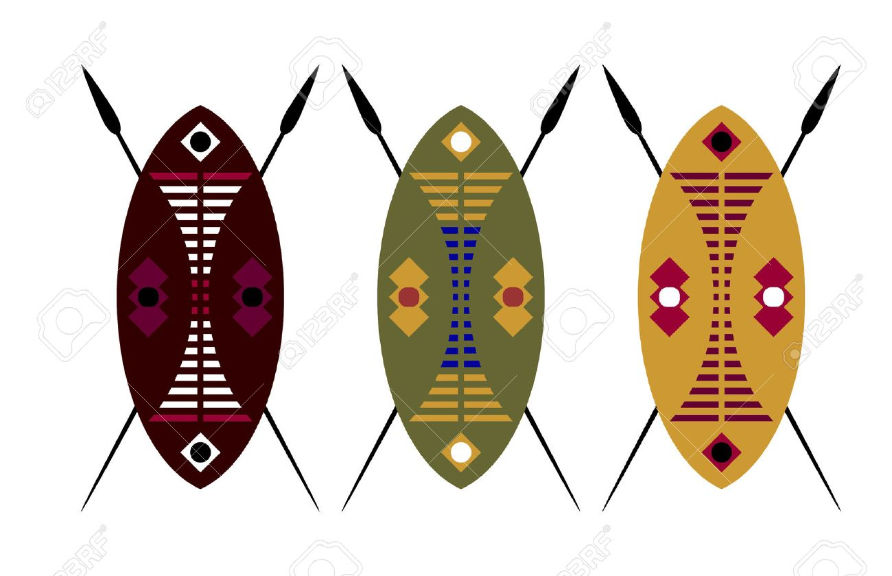 African warrior shield and spear over a white background