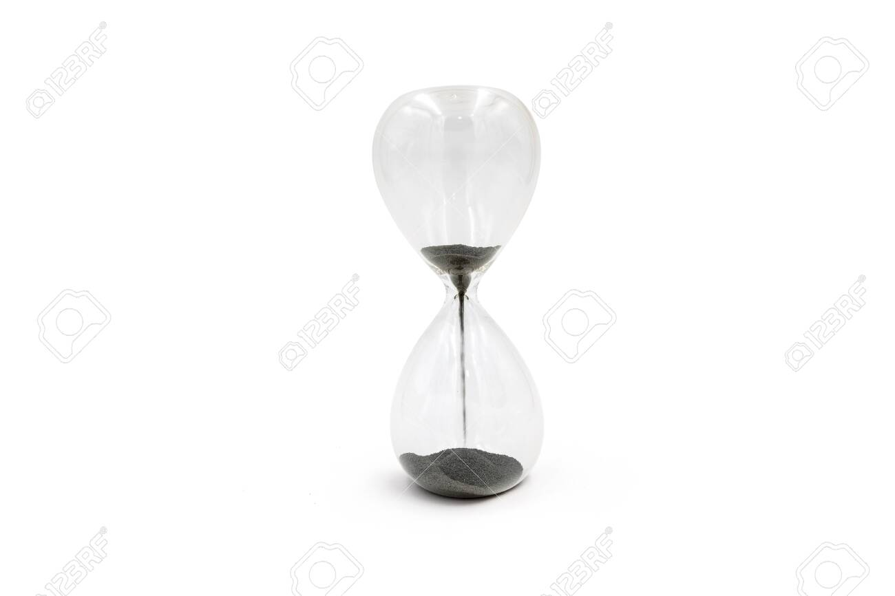 Creative magnetic sand glass hourglass isolated on white background, leadership concept - 129691377