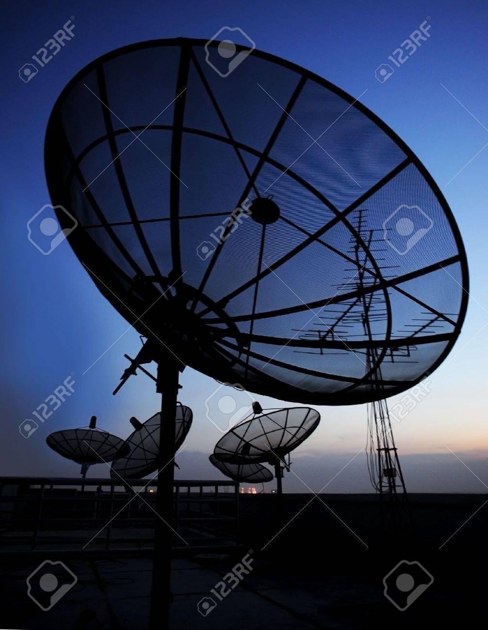 satellite communication disk on evening background Stock Photo - 8875909