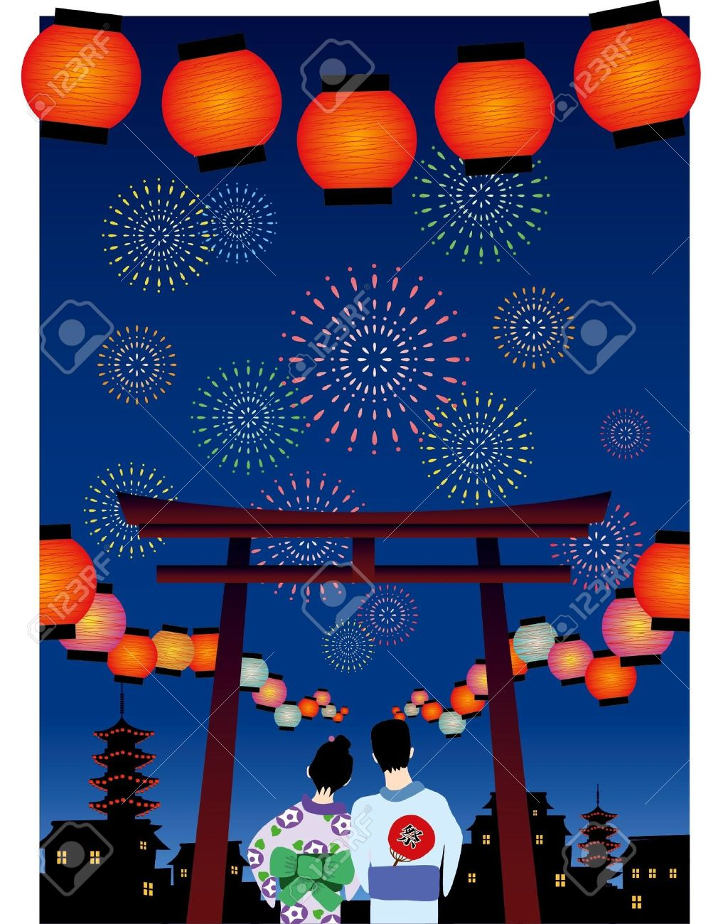 japanese summer festival vector graphic Stock Vector - 10129528
