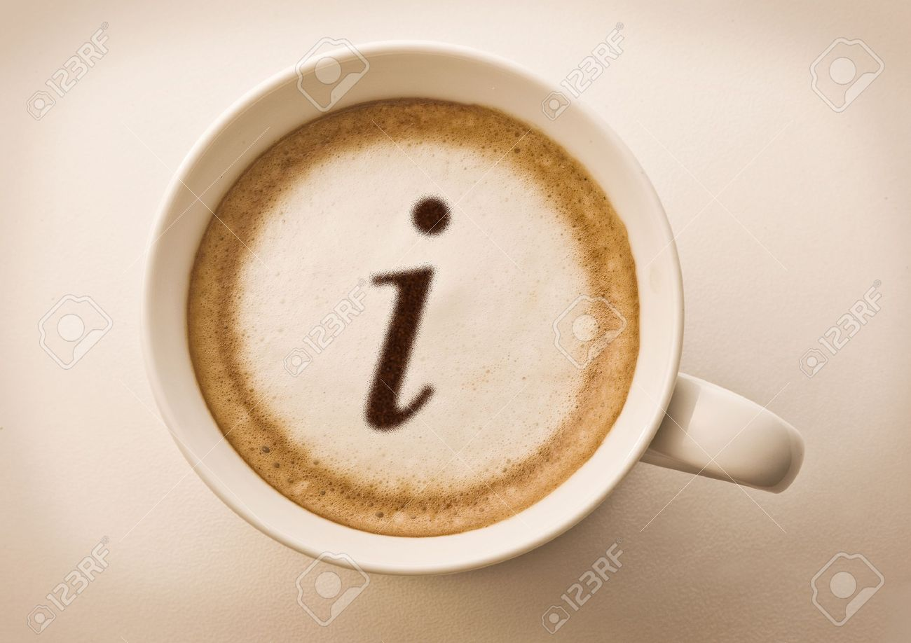 letter i drawing on latte art coffee cup Stock Photo - 10486584