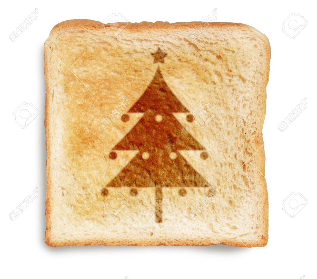 Christmas Tree Picture Burn Mark On Toast Bread, Isolated On ...