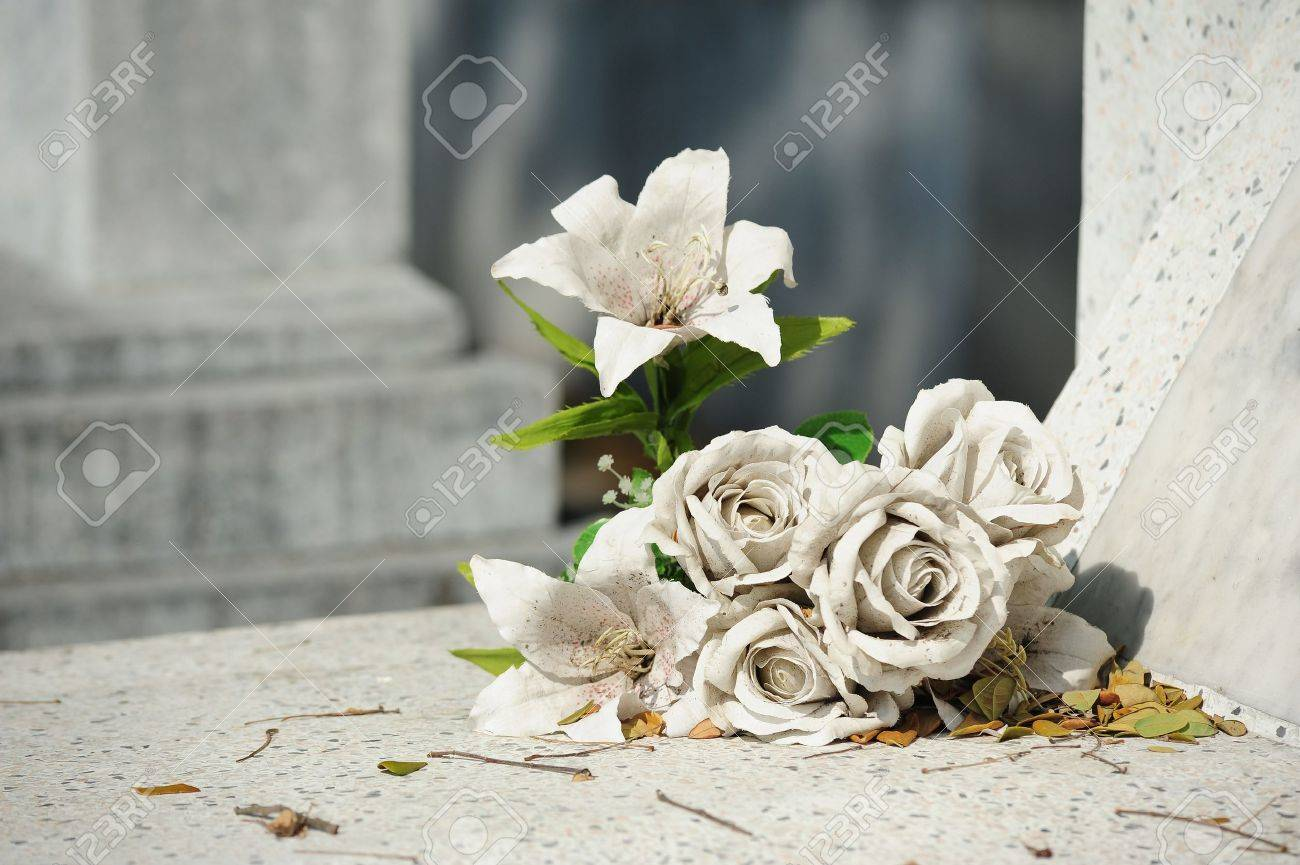 Old White Fake Flower On Grave Stock Photo Picture And Royalty Free