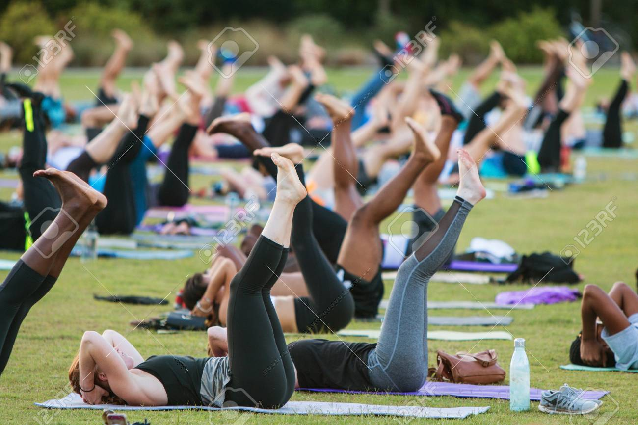 Atlanta Ga Usa July 2 2017 Dozens Of People Do A Yoga Stock Photo Picture And Royalty Free Image Image 88820144