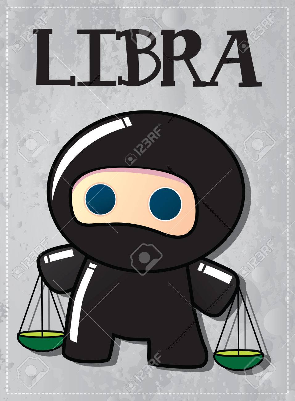 Zodiac sign Libra with cute black ninja character, vector Stock Vector - 24196809