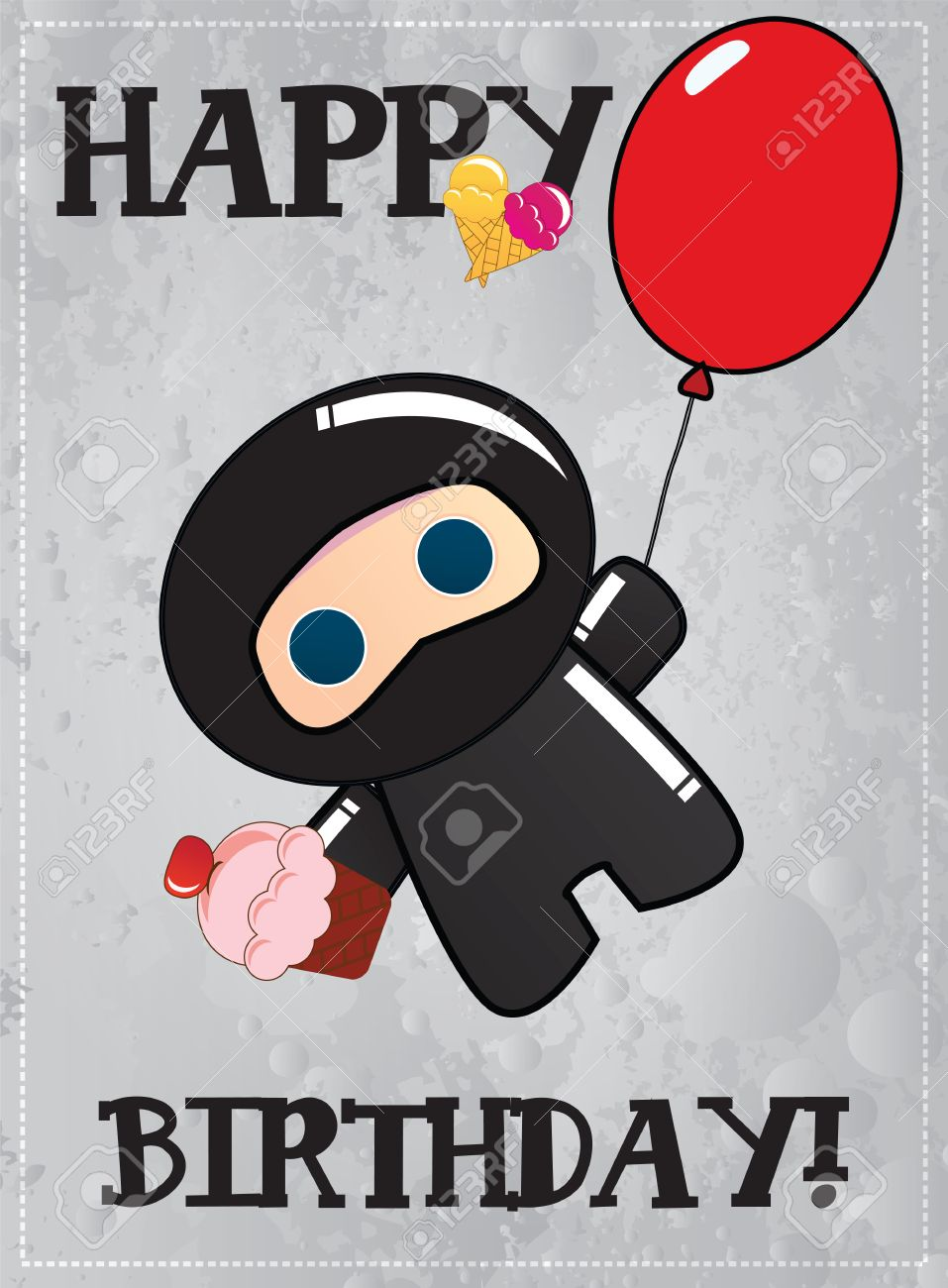 Happy Birthday Card With Cute Cartoon Ninja Character Vector Stock