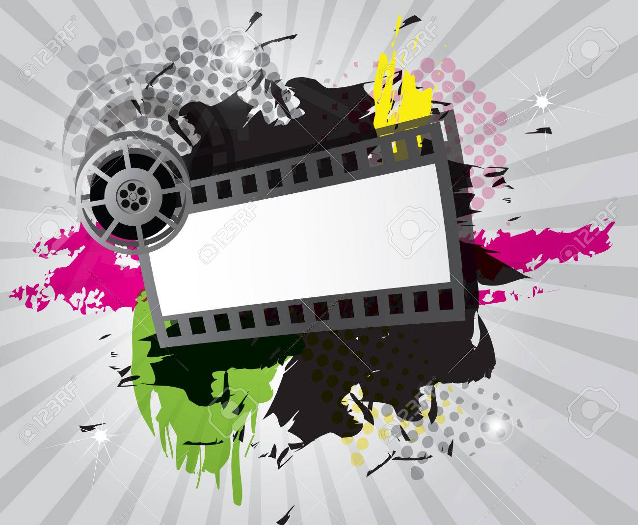 Movie background with filmstrip and director s chair, vector Stock Vector - 24233756
