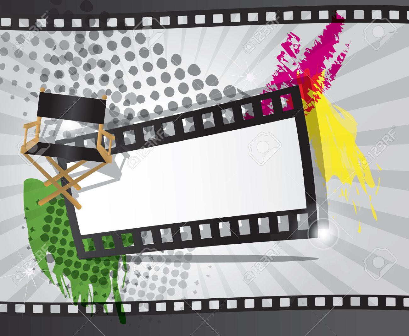 Movie background with filmstrip and director s chair, vector Stock Vector - 24307479