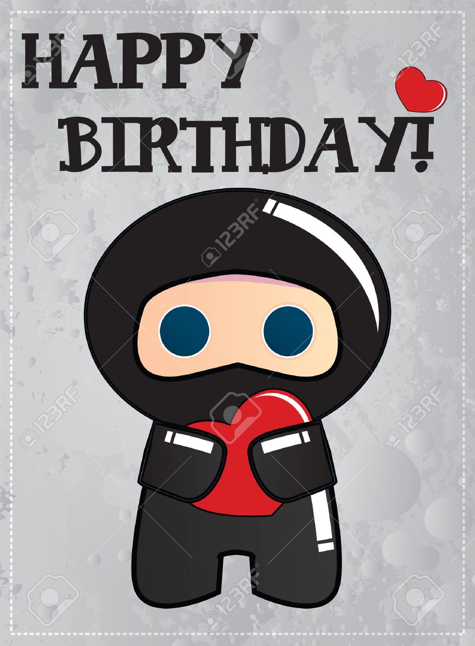 Happy Birthday Card With Cute Ninja Cartoon Character Holding A Heart Vector Stock