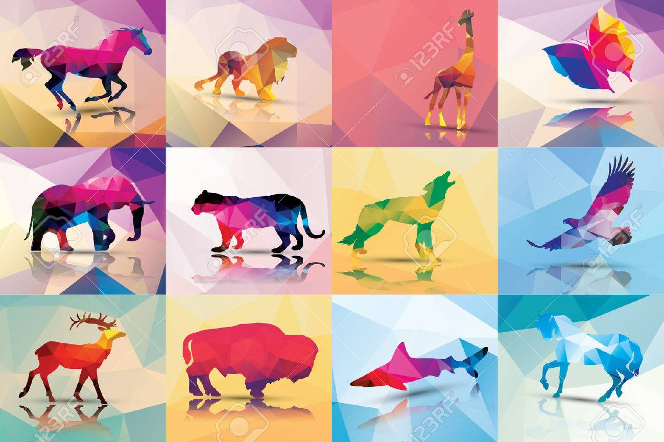 Collection of geometric polygon animals Stock Vector - 26774781