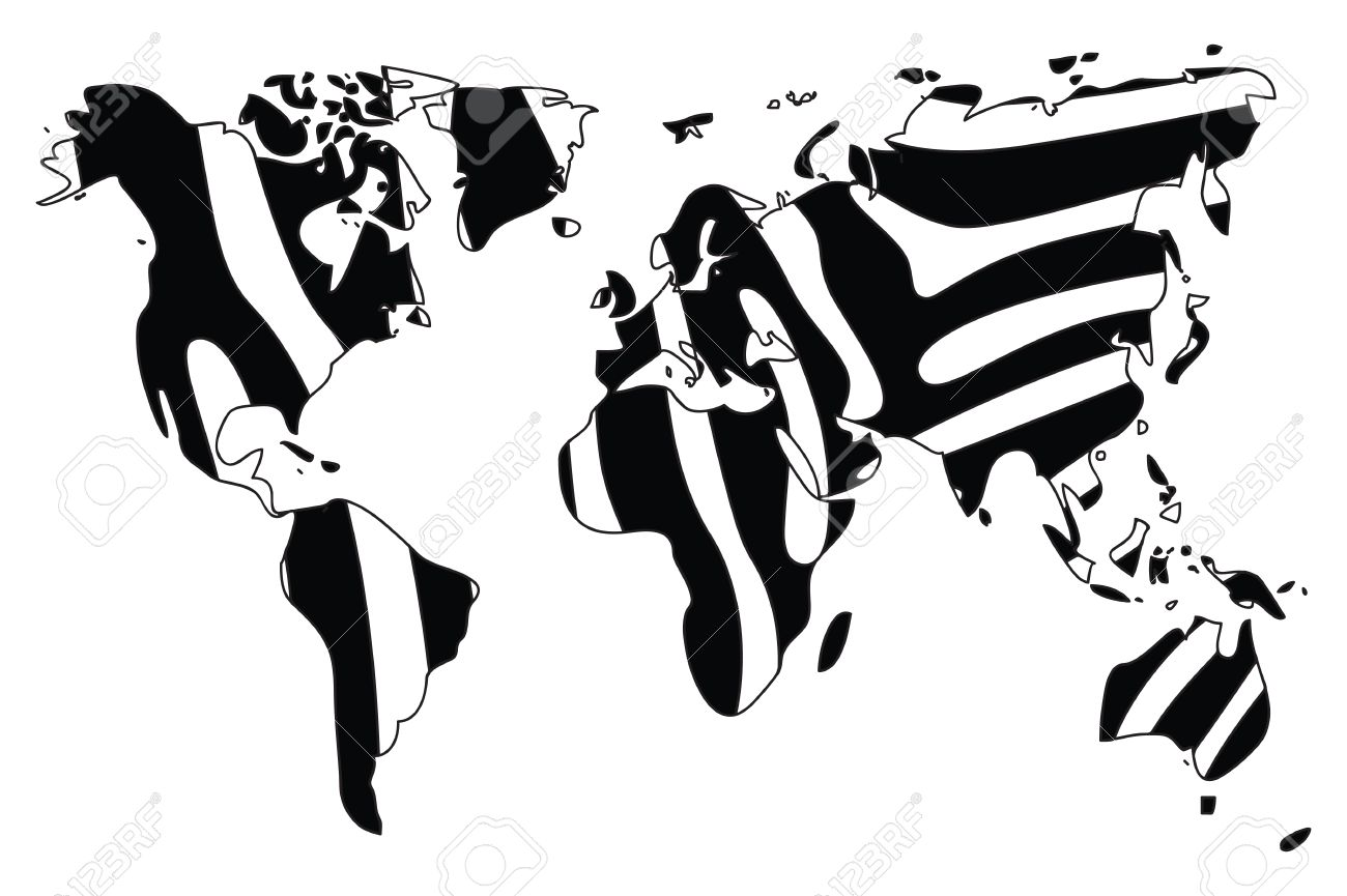 World map in animal print design black and white zebra vector vector world map in animal print design black and white zebra vector illustration gumiabroncs