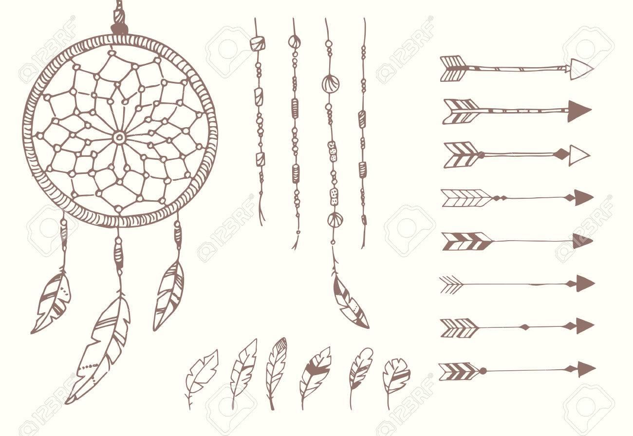 Hand Gezeichnet Native American Federn Traumfänger Perlen Und