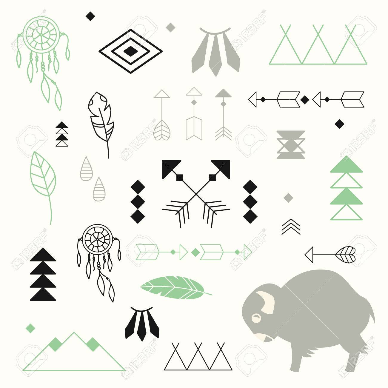 Dream Catchers Symbolism Collection Of Native American Symbols With Cute Baby Buffalo 39