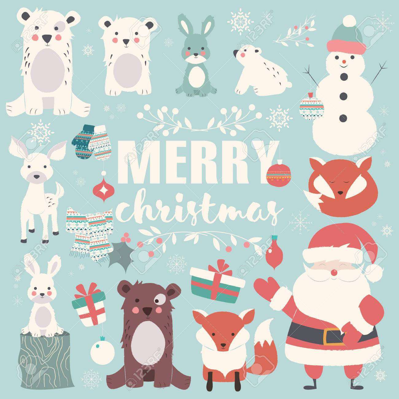 Merry Christmas Animals.Collection Of Christmas Animals Lettering And Santa Claus Merry