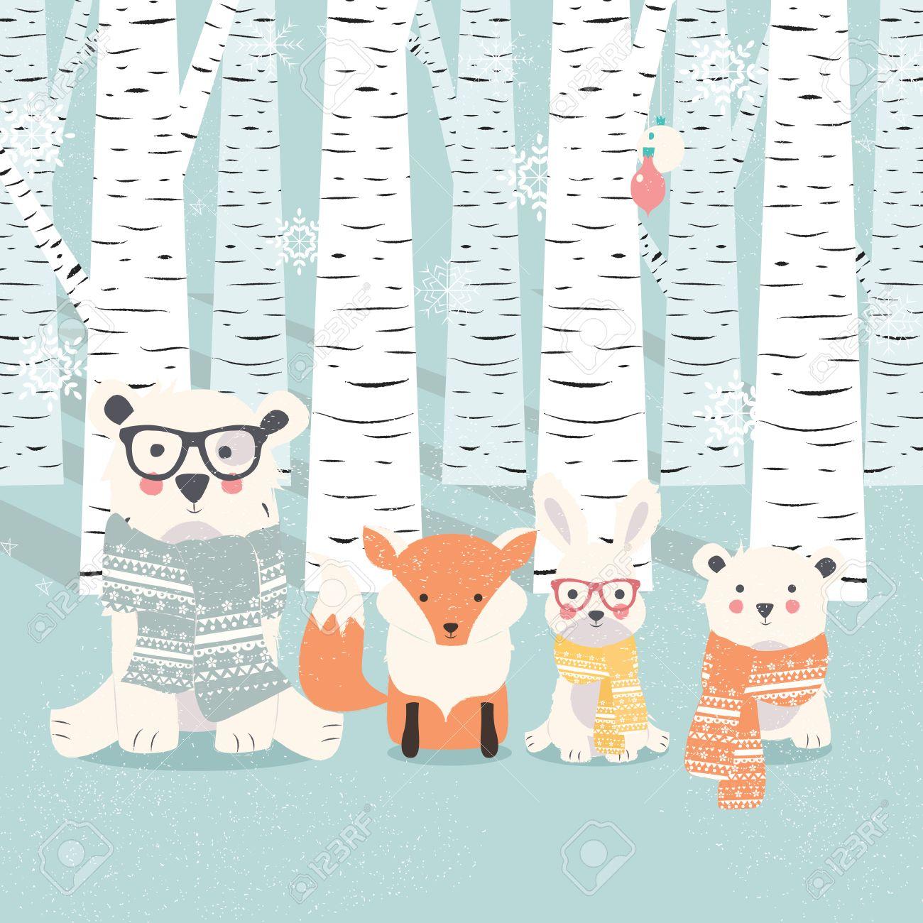 Feliz Navidad Postal Con Osos, Zorro Y Conejo En El Bosque De ...
