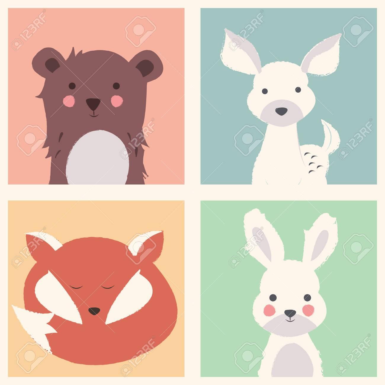 Colección De Bosques Polares Y Animales Lindos Con Cachorros De Bebé ...
