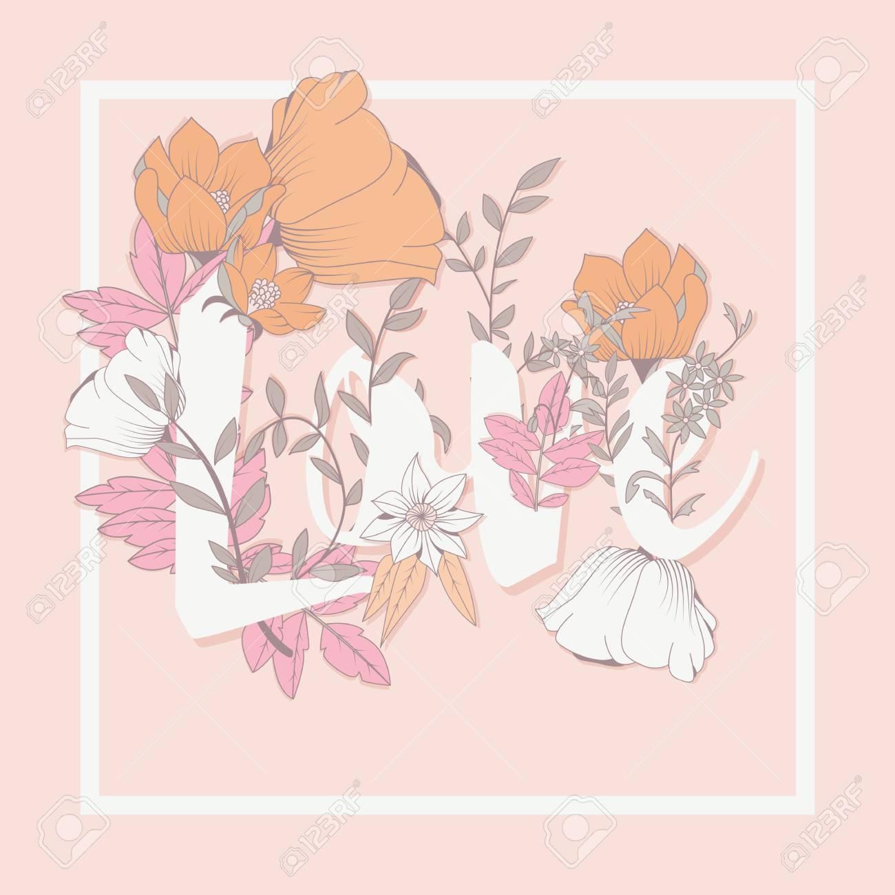 花タイポグラフィ ポスター デザインやテキスト花柄単語愛イラストと
