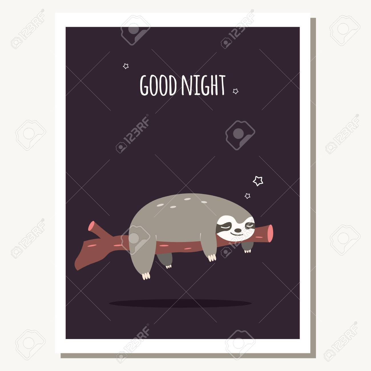 Greeting Card With Cute Lazy Sloth And Text Message Vector
