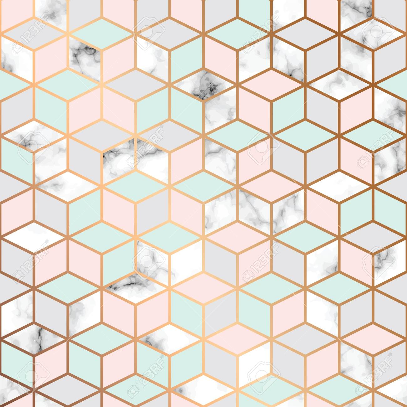 Vector marble texture, seamless pattern design with golden cubes
