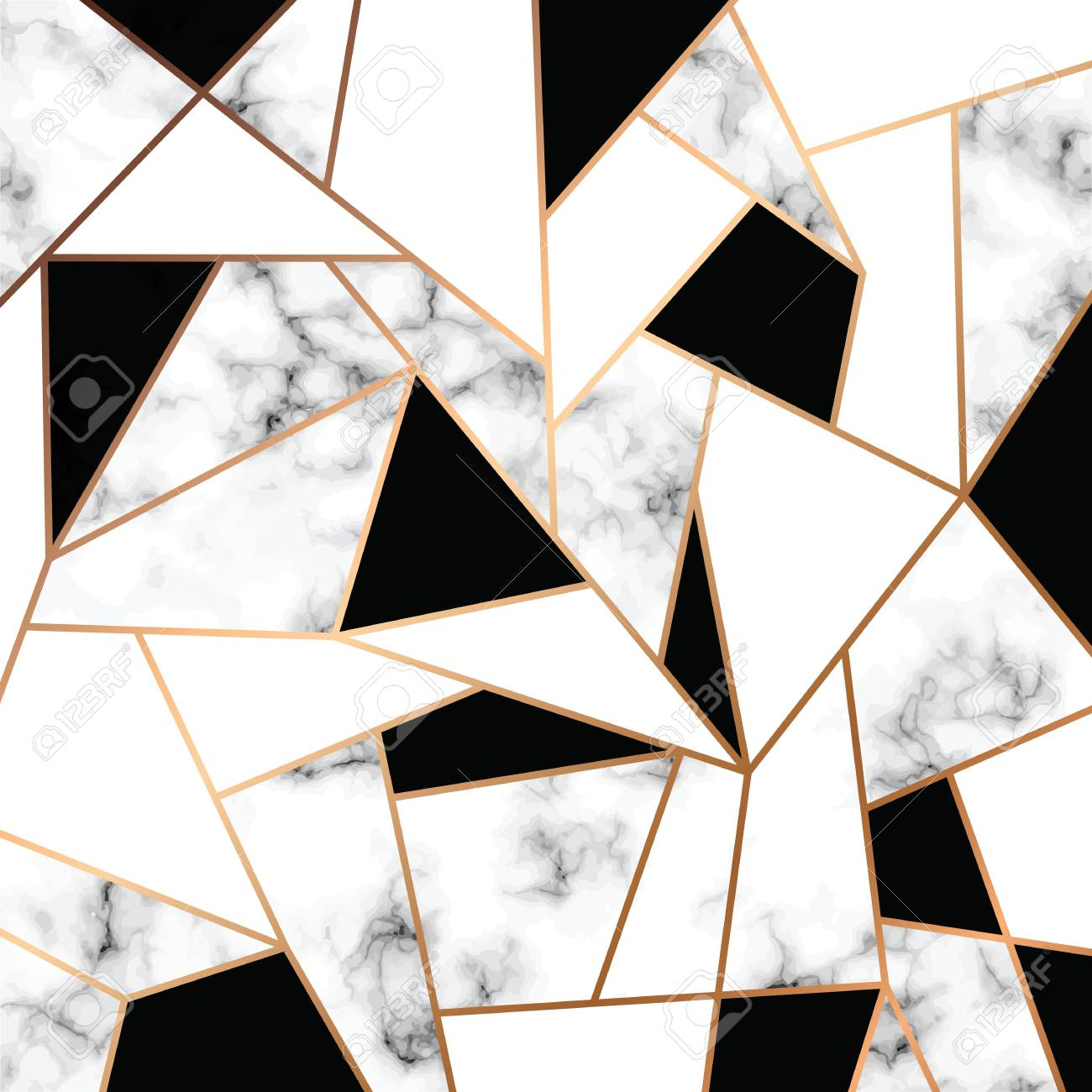 Vector marble texture design with golden geometric lines, black and white marbling surface, modern luxurious background, vector illustration - 102156691