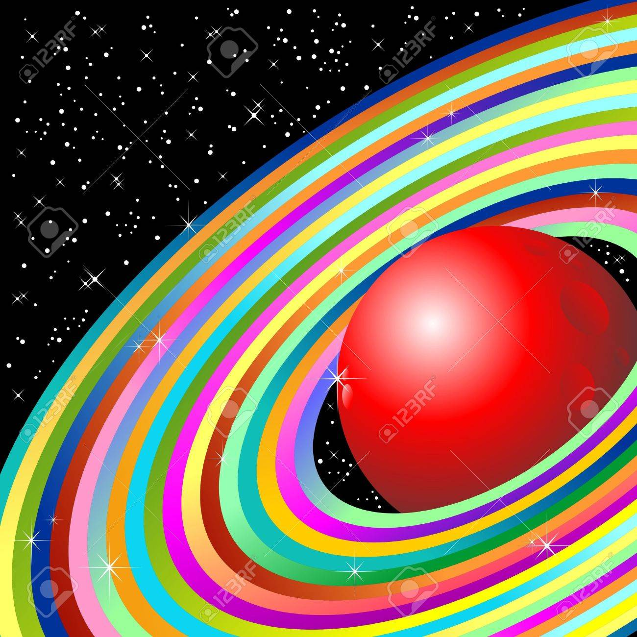 Planet with ellipse Stock Vector - 13704310