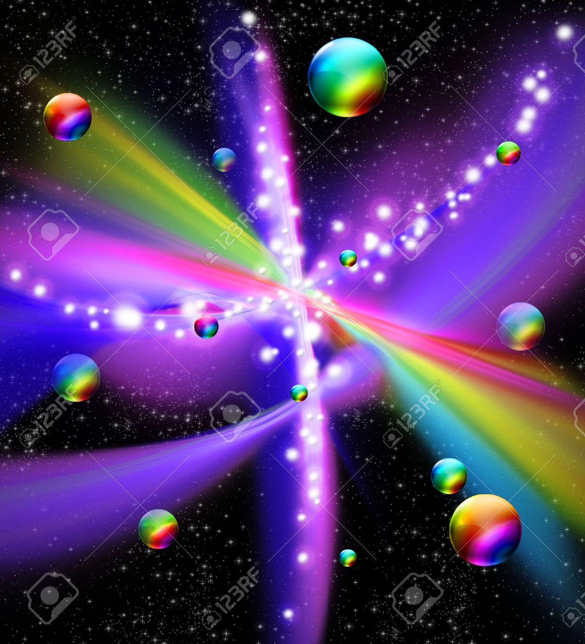 Universe Galaxy Fantasy Rainbow Colors Stock Photo - 16625868