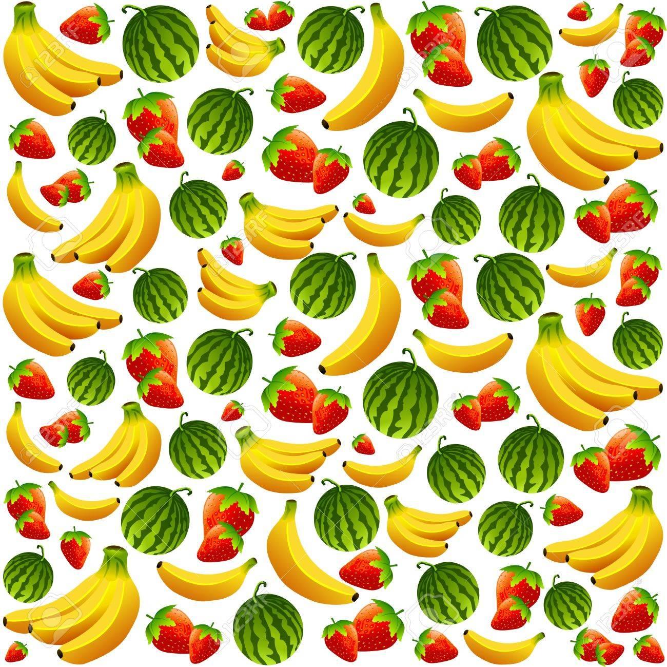 Fresh Summer Fruits Pattern Background Stock Vector - 18596662