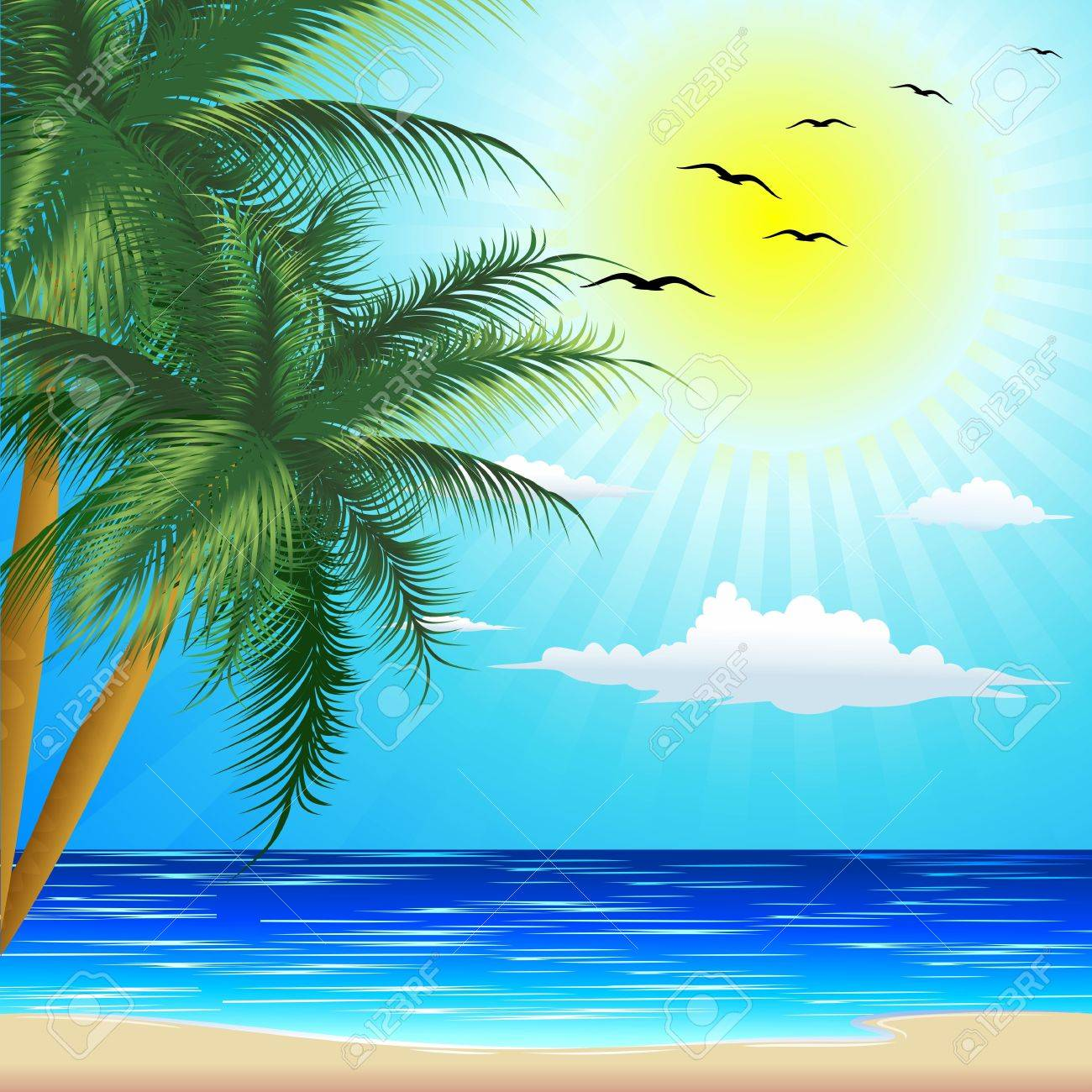 Tropical Beach for Exotic Summer Holiday Stock Vector - 19681495