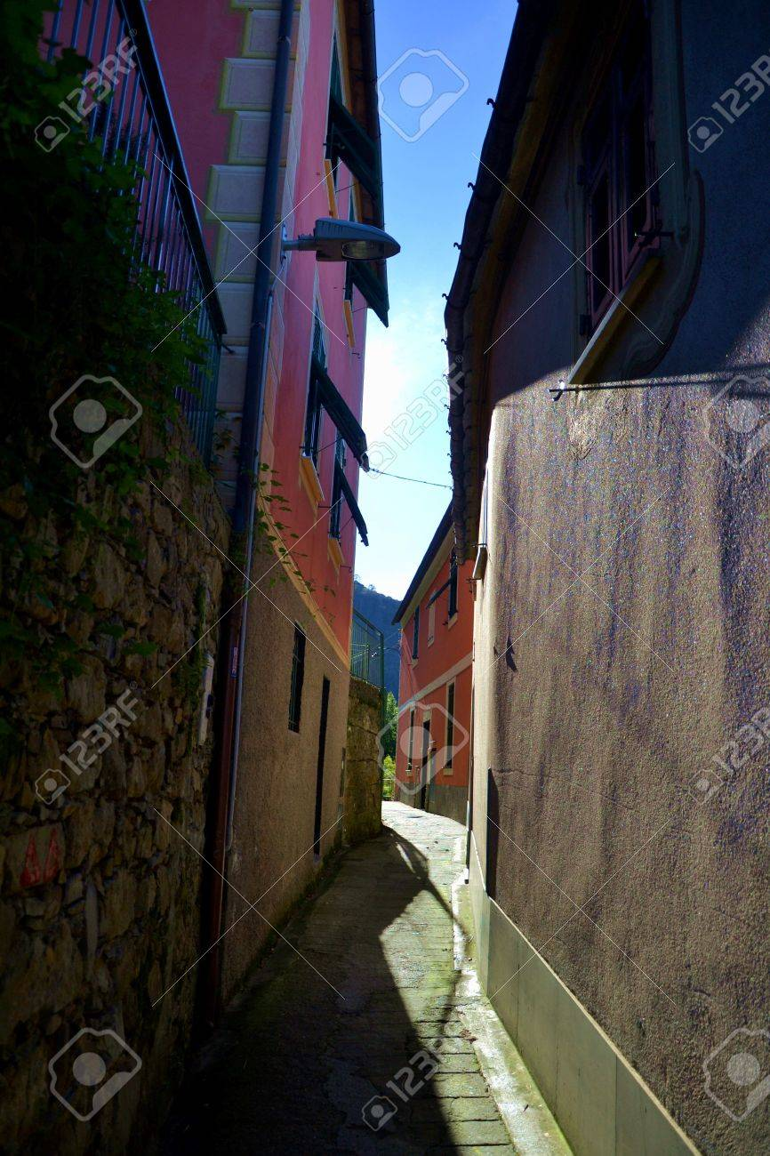 typical houses in liguria's coasts Stock Photo - 57608489