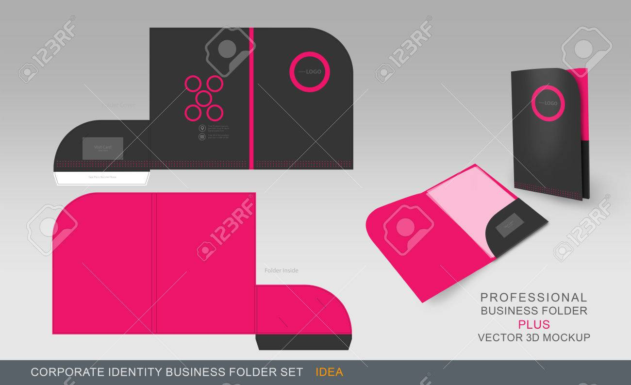 Corporate identity business folder folder design template with corporate identity business folder folder design template with dicut cutline ready for print stock flashek Gallery