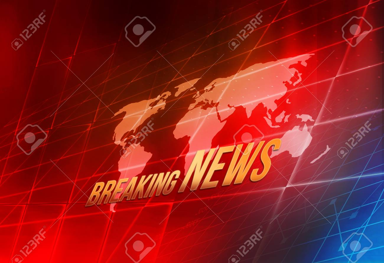 Graphical Digital World Breaking News Background Map Inside Big Flat TV Screen Stock Photo
