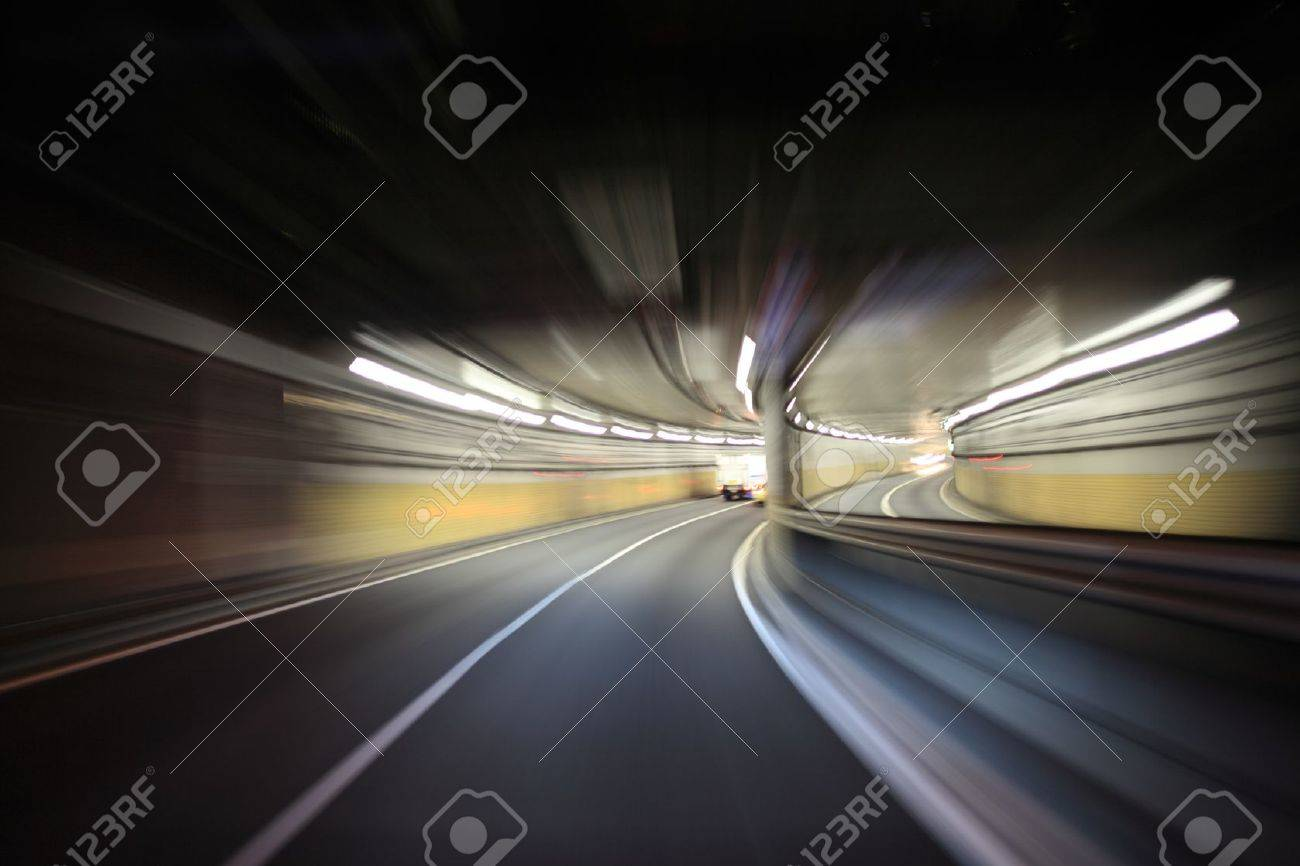 Driving on the night road Stock Photo - 18996099