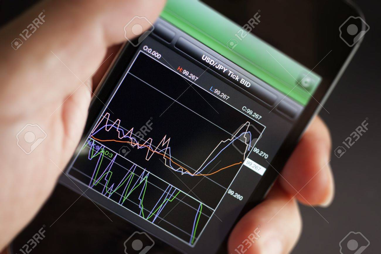 Foreign exchange market chart at smart phone Stock Photo - 19364347