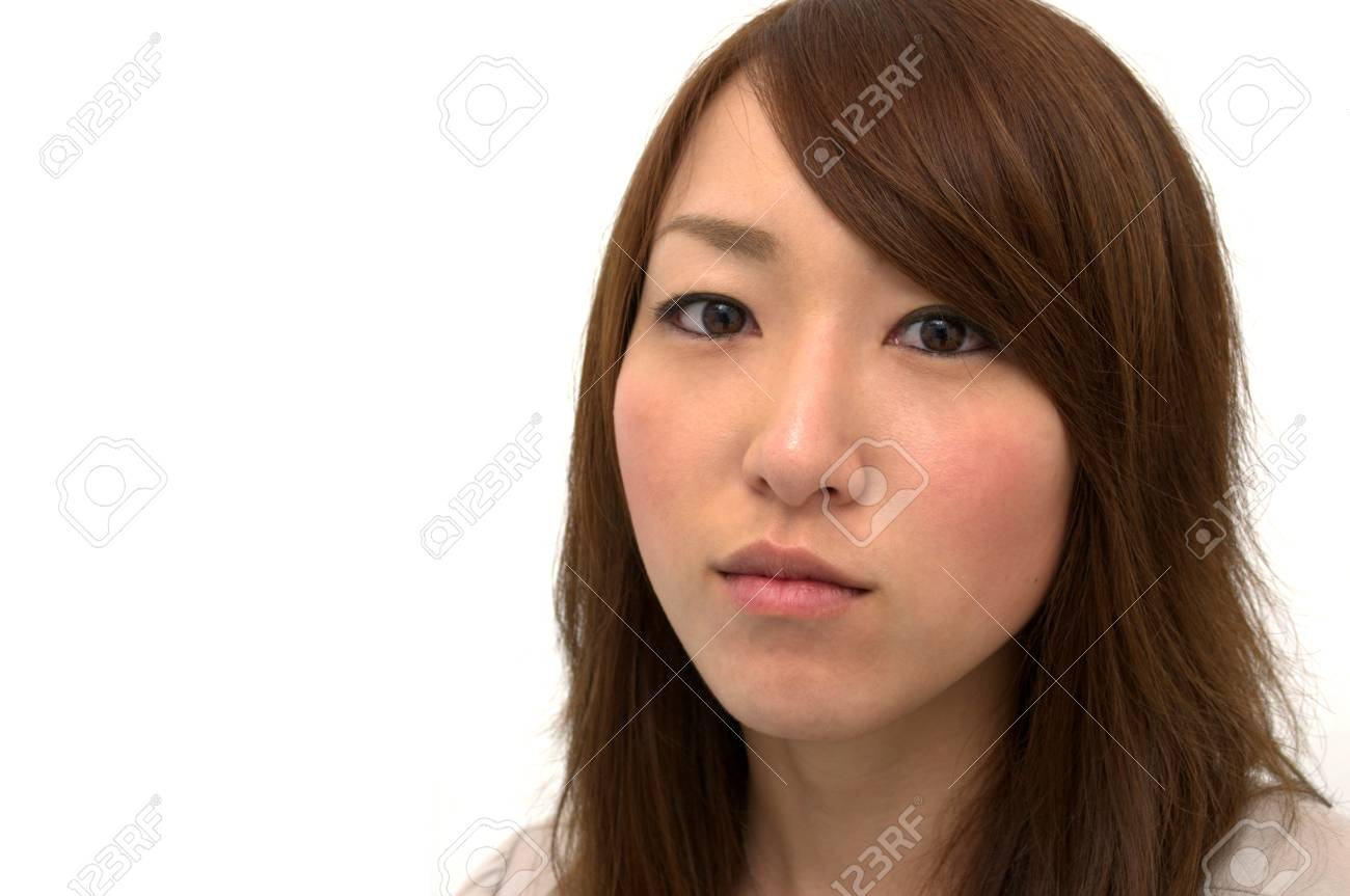 Asian Beautiful Girl Portrait Staring at Camera, Copy Space Stock Photo - 16253913